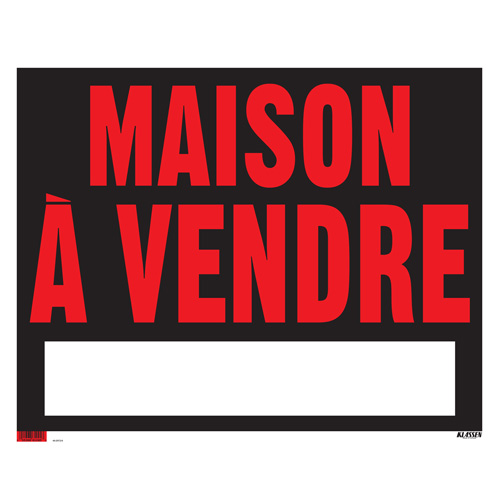 """Sign - """"Maison à vendre"""" - Black and Red"""