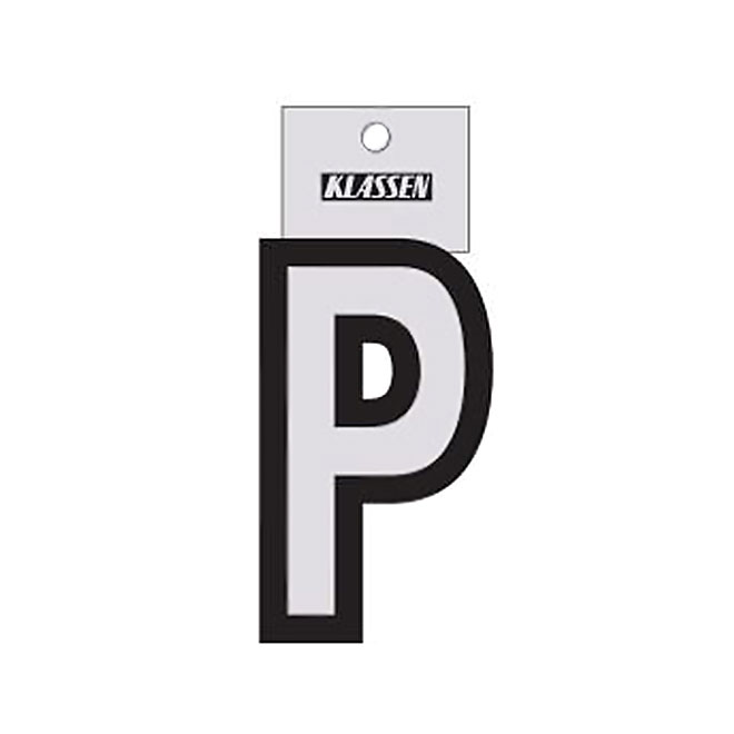 """Reflective Letter - Vinyl - P - 3"""" - Black and Silver"""