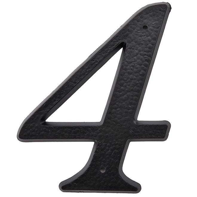 "Plastic Number - #4 - 5"" - Black"