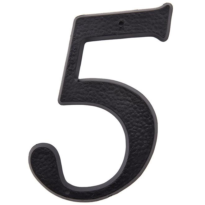 """Chifffre en plastique, #5, 5"""", noir"""