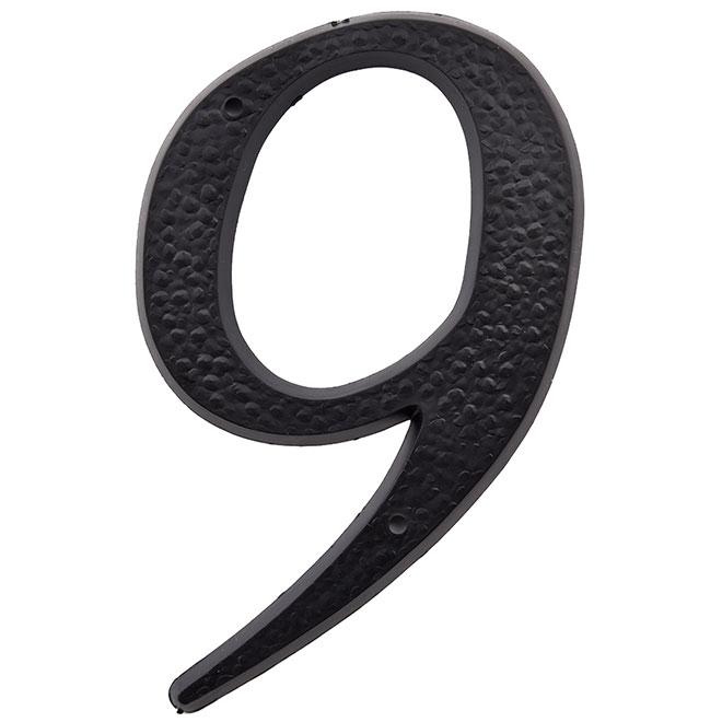 """Chifffre en plastique, #9, 5"""", noir"""