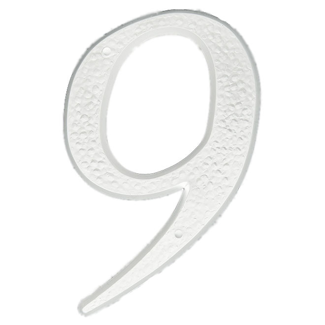 "Nail-On Plastic Number - #9 - 5"" - White"