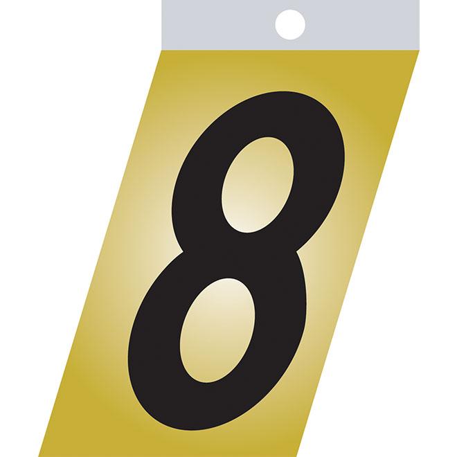 """Chiffre autoadhésif en métal, #8, 2"""", noir"""