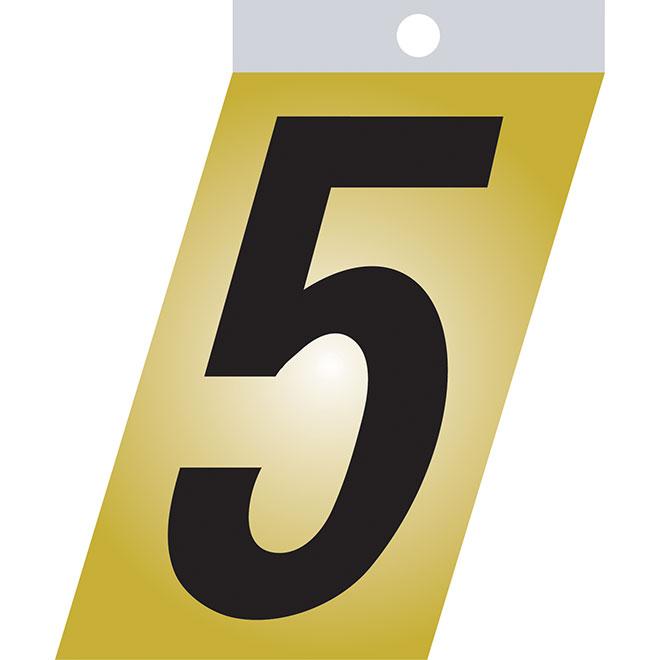 """Chiffre autoadhésif en métal, #5, 3"""", noir"""