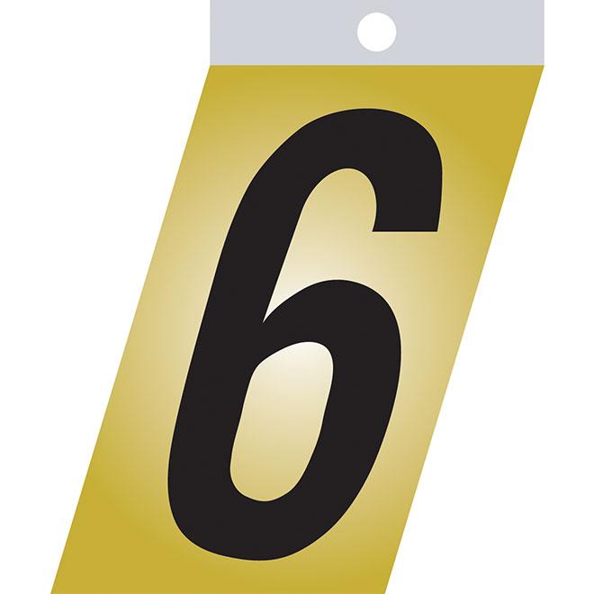 """Chiffre autoadhésif en métal, #6, 3"""", noir"""