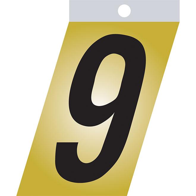 """Chiffre autoadhésif en métal, #9, 3"""", noir"""