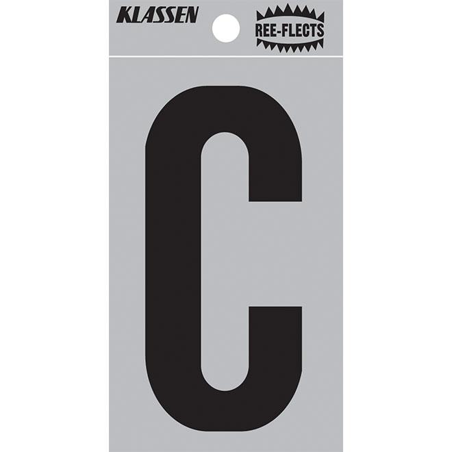 """Reflective Letter - C - 2"""" - Black"""