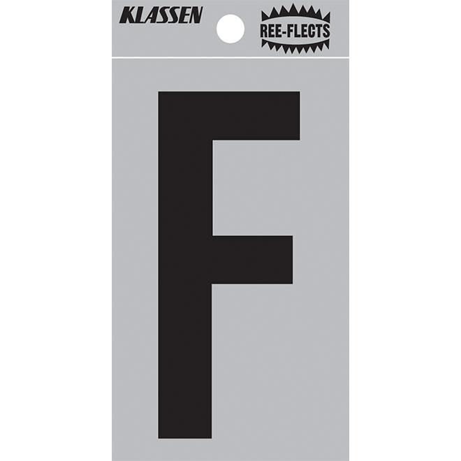 """Lettre réfléchissante, F, 2"""", noir"""