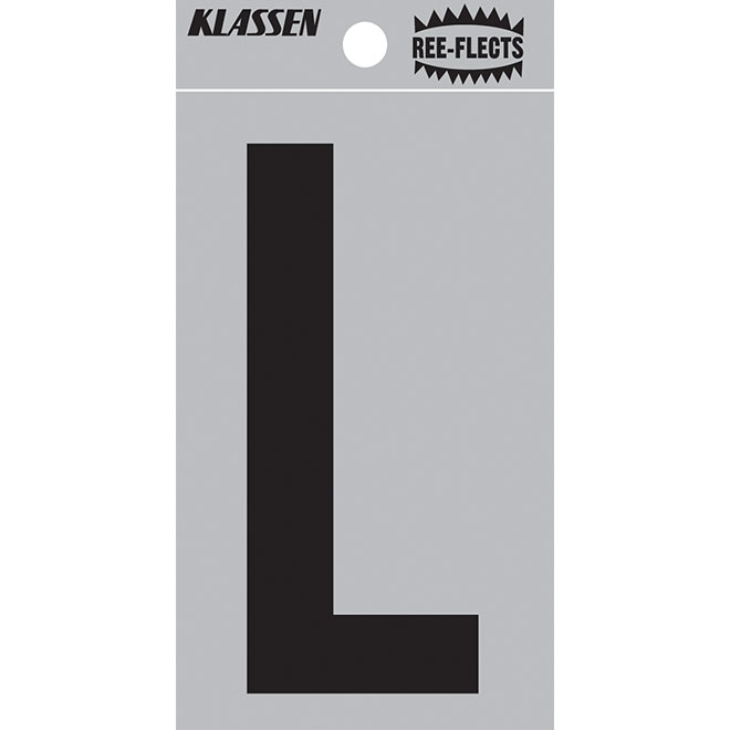 """Reflective Letter - L - 2"""" - Black"""