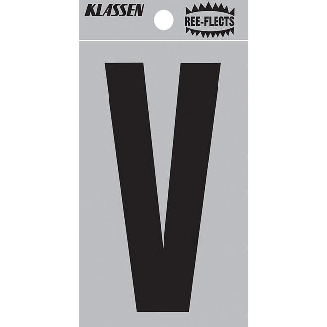 """Reflective Letter - V - 2"""" - Black"""