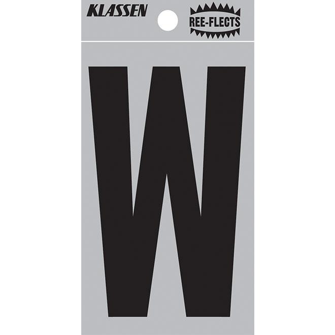 """Lettre réfléchissante, W, 2"""", noir"""
