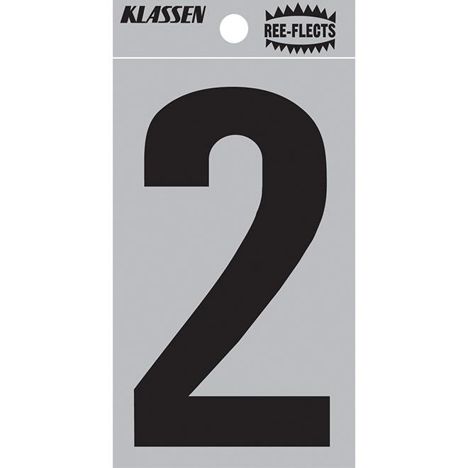 """Reflective Number - #2 - 2"""" - Black"""