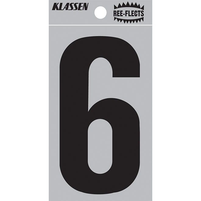 """Chiffre réfléchissant, #6, 2"""", noir"""