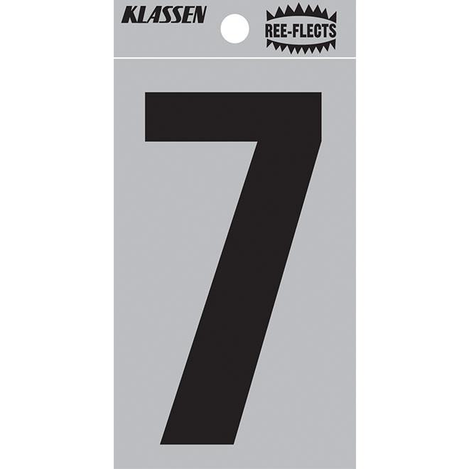 """Reflective Number - #7 - 2"""" - Black"""