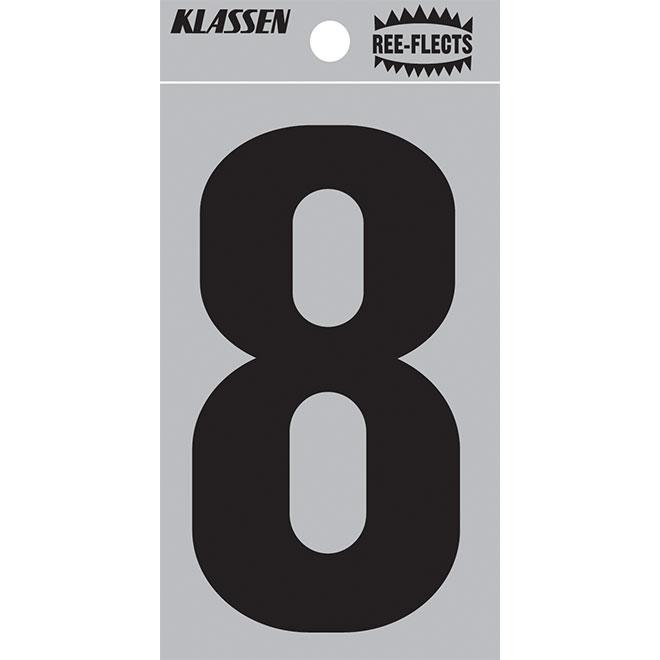 """Reflective Number - #8 - 2"""" - Black"""