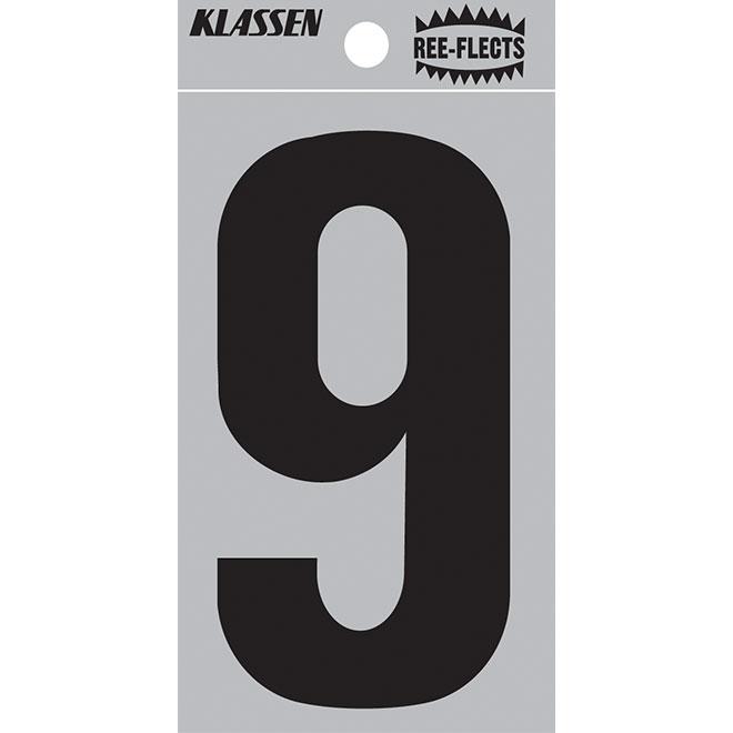 """Reflective Number - #9 - 2"""" - Black"""