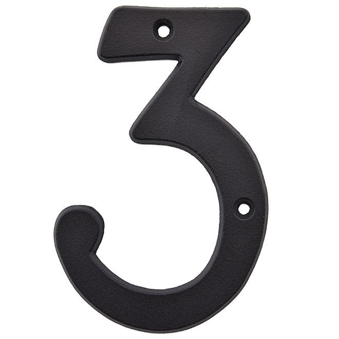 """Chiffre à clouer en métal, #3, 5"""", noir"""