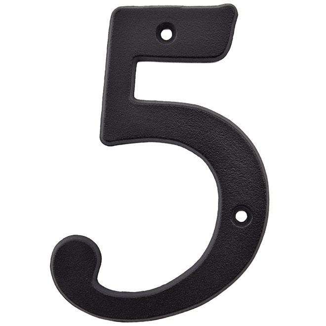 """Chiffre à clouer en métal, #5, 5"""", noir"""