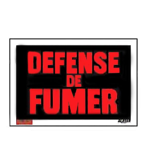 Klassen French Défense de fumer Sign - 8-in x 12-in - Plastic - Red and Black