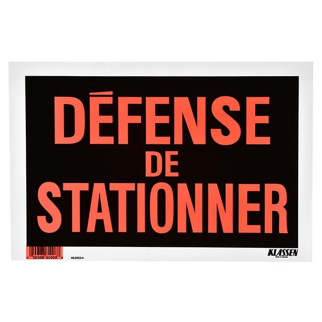 """Écriteau « Défense de stationner », 8"""" x 12"""", rouge"""