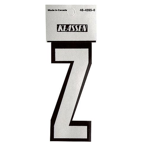 """Lettre « Z » réfléchissante en vinyle, 3"""", noir et argent"""