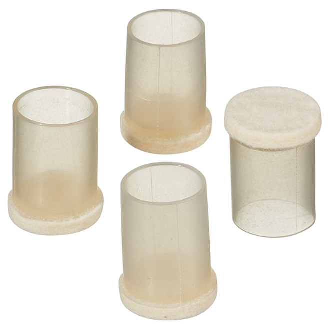 "Fused-Felt Plastic Leg Tips - Round - 5/8"" - 4-Pack"