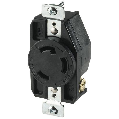 Prise verrouillable, industrielle, 2 poles/3 fils, 30A/250V
