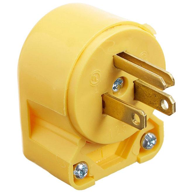 Angled 2-Pole Plug - 3Wires - 15A - NEMA5-15P - Yellow