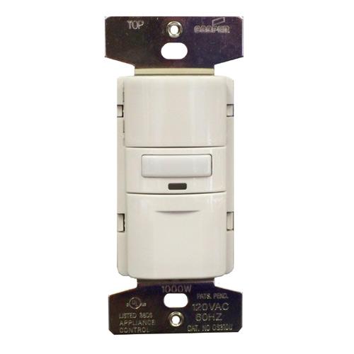 Interrupteur 3 voies, détecteur de présence, plastique, blanc