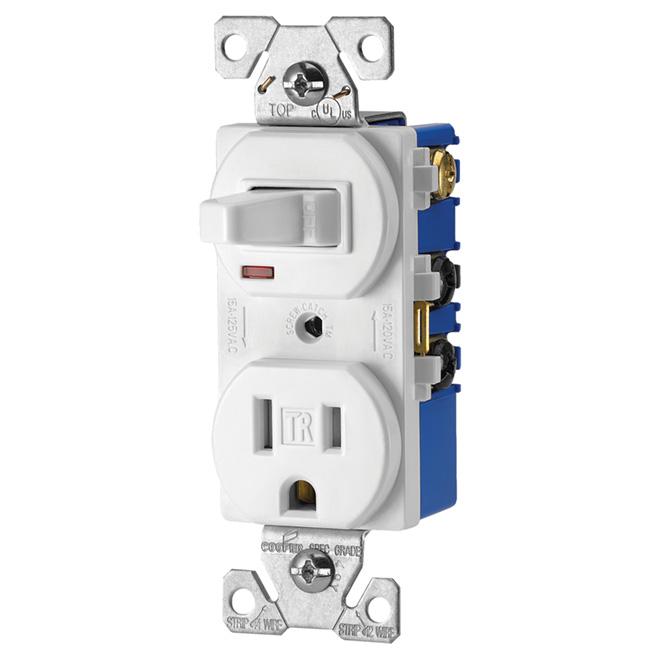 Interrupteur avec prise à bascule, 15A, 125V, blanc