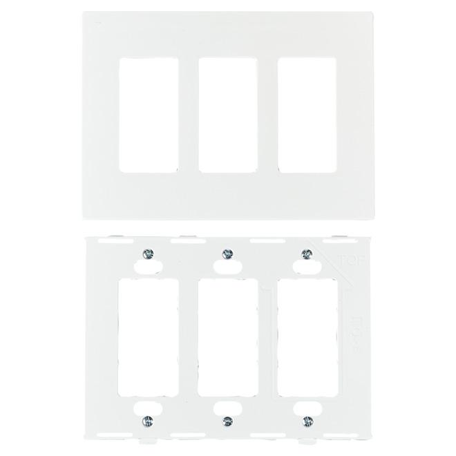 Plaque murale sans vis, 3 prises, blanc