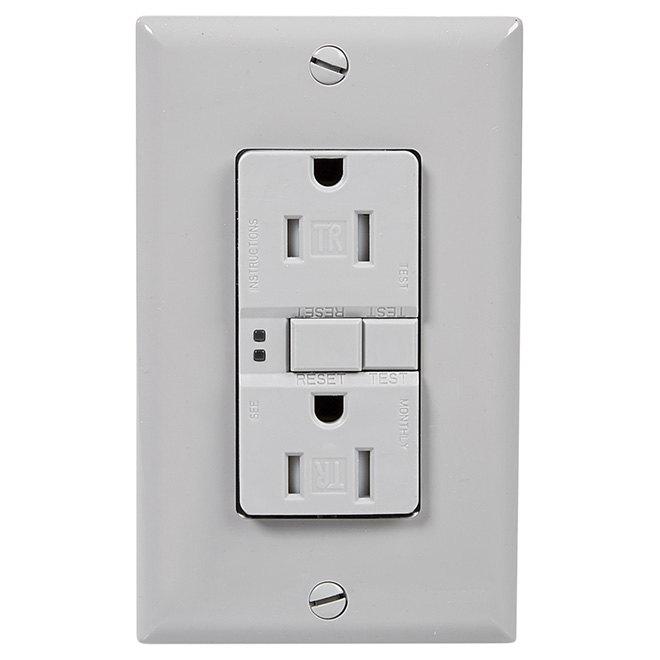 Self-testing GFCI receptacle - 15 A; 125 V - Grey