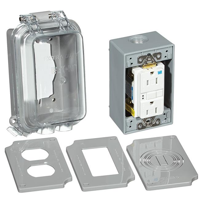 GFCI Weather Box - 15A - 125v/AC - Vertical - Grey
