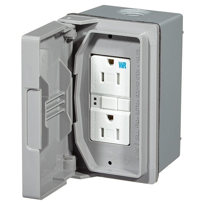 GFCI Weather Box - 15A 125V - Grey