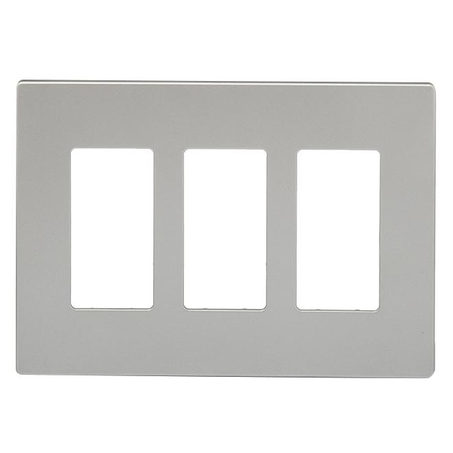 Screwless Wall Plate - 3-Gang - Silver