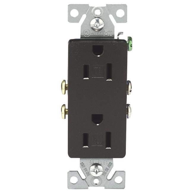 Duplex GFCI Receptacle - 15 A; 120 V - Bronze