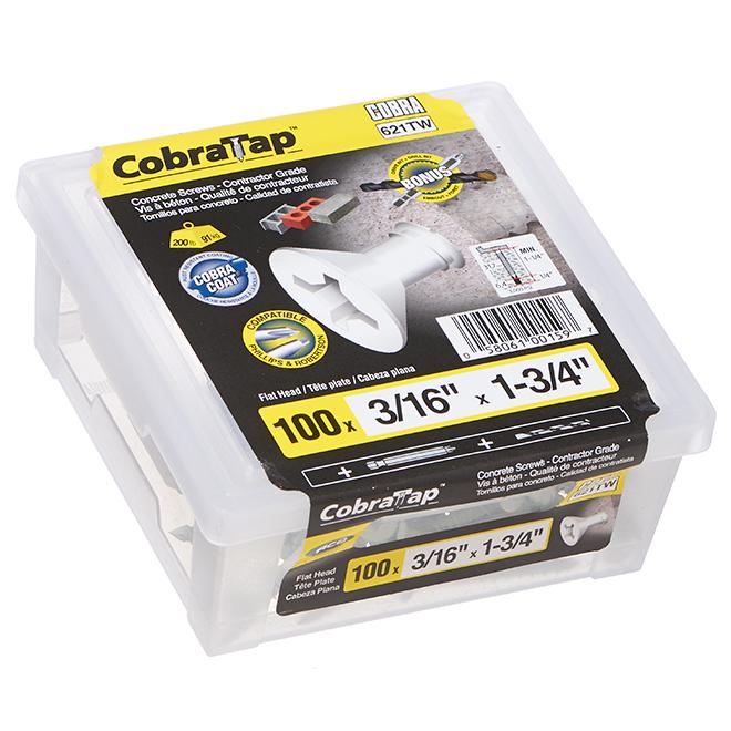 """Concrete Screws - Flat Head - 3/16"""" x 13/4"""" - 100/Box - White"""