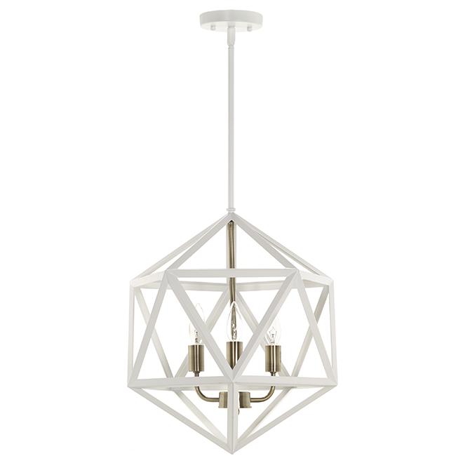 """Luminaire suspendu, 3 lumières, 15 1/2"""", blanc et or"""