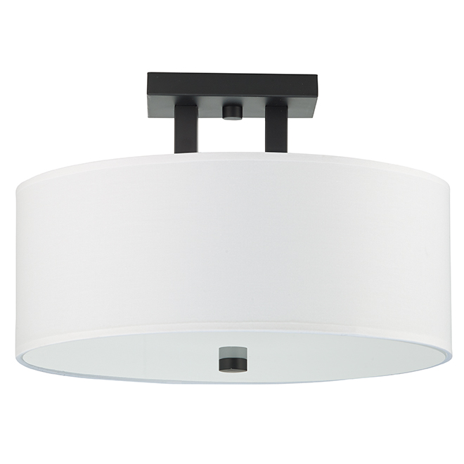 "Semi Flush Mount Ceiling Light - 15"" x 10"" - Matte Black"