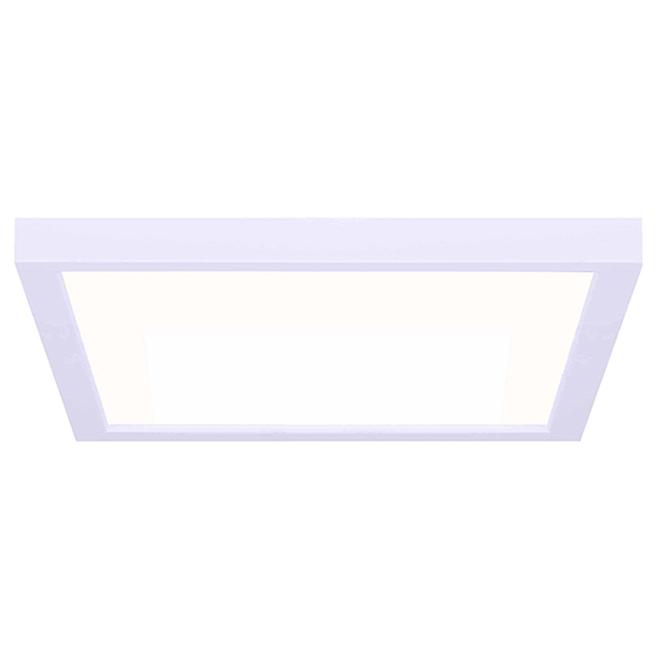 Plafonnier carré DEL, Canarm, métal et acrylique, 11 po 15 W, blanc