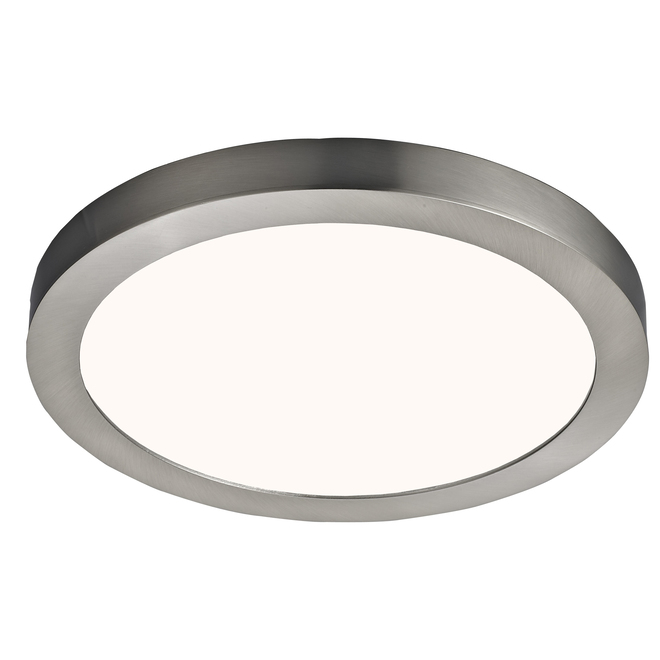 Canarm Round LED Flush Mount Ceiling Light - Metal and Acrylic - 11-in - 15 W - Brushed Nickel