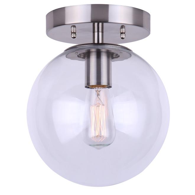 Canarm Camilo Flush Mount Ceiling Light - 1 Light - Clear Glass Globe - Brushed Nickel Finish