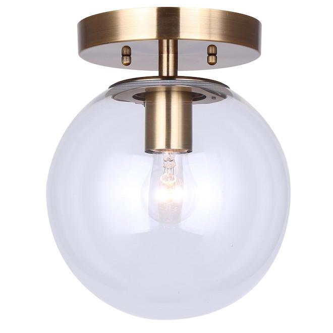 Canarm Camilo Spherical Flush Mount Light - Gold - Clear Glass - 60-W