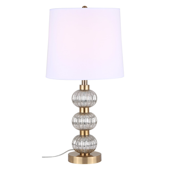 Canarm Bane Table Lamp with 3 Spheres - 20.9-in - Metal/Glass/Fabric - Gold/White