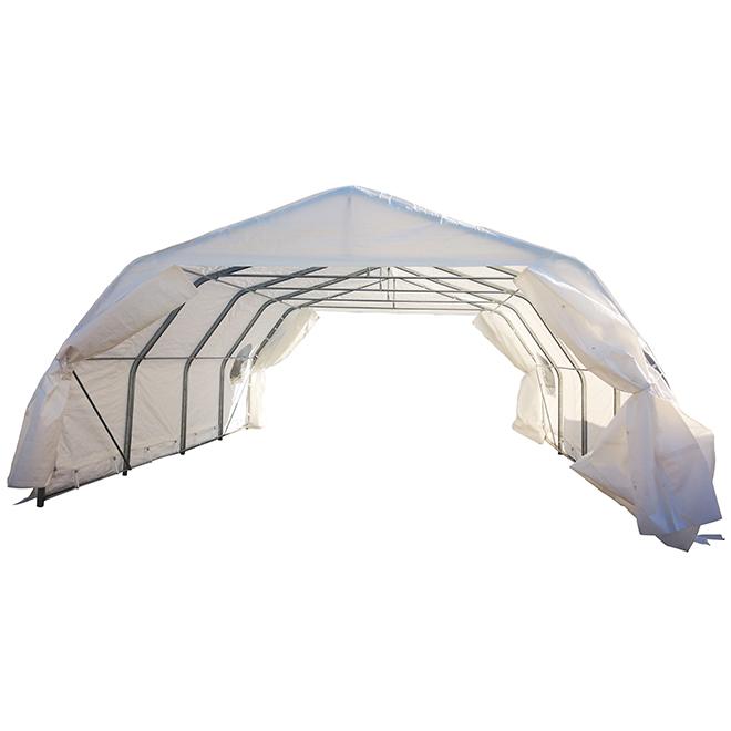 Car Shelter - Steel and Polyethylene - 18' x 20' - White