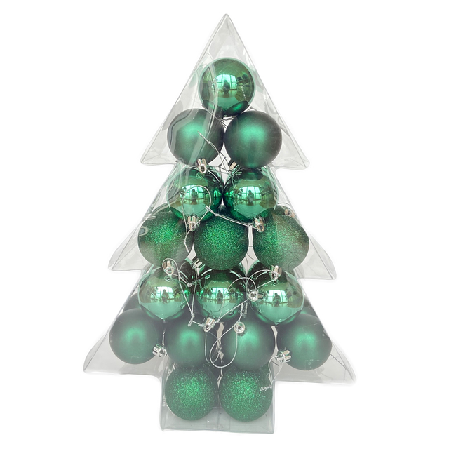 Christmas Ball Ornaments - Rustic Tidings Collection - Plastic - Green - 34/Pack