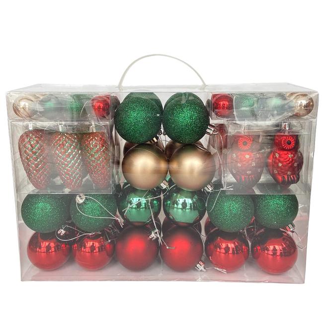 Boules de Noël, collection Noël au chalet, plastique, or, rouge et vert, 100/pqt