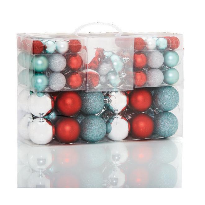 Boules de Noël Holiday Living, plastique, menthe/gris/rouge, paquet de 100