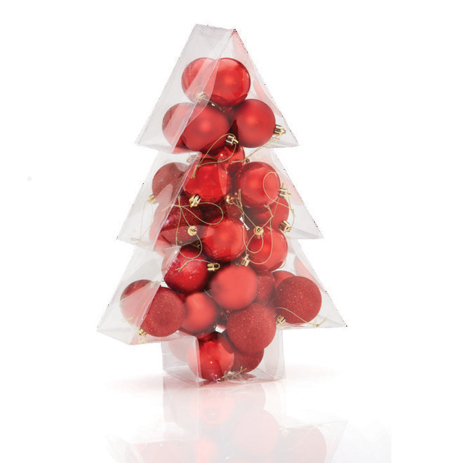 Boules de Noël Holiday Living, Promenade en traîneau, rouge, 34/pqt