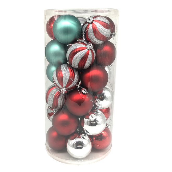 Holiday Living Christmas Balls - Friendly Forest - Red, Mint and Silver - 30/Pack
